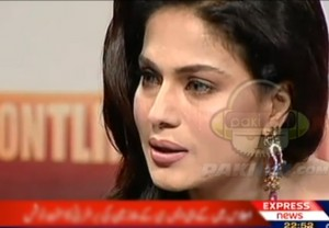 Veena Malik crying in Front Line show on Express TV