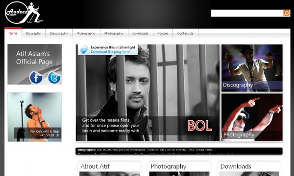 Atif Aslam's Official Website revamped , forums removed