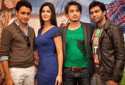 Ali Zafar with Katrina Kaif Imran Khan on the premiere of Mere Brother Ke Dulhan in Abu Dhabi