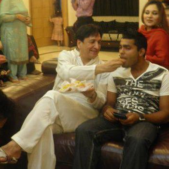 Umar Akmal with his father in law Abdul Qadir, on his engagement day