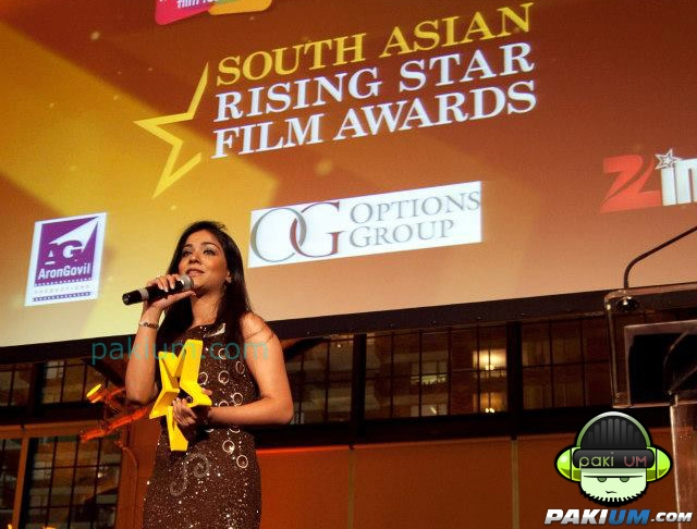 Humaima wearing Blackbird at South Asian Rising Star Film Award Ceremony